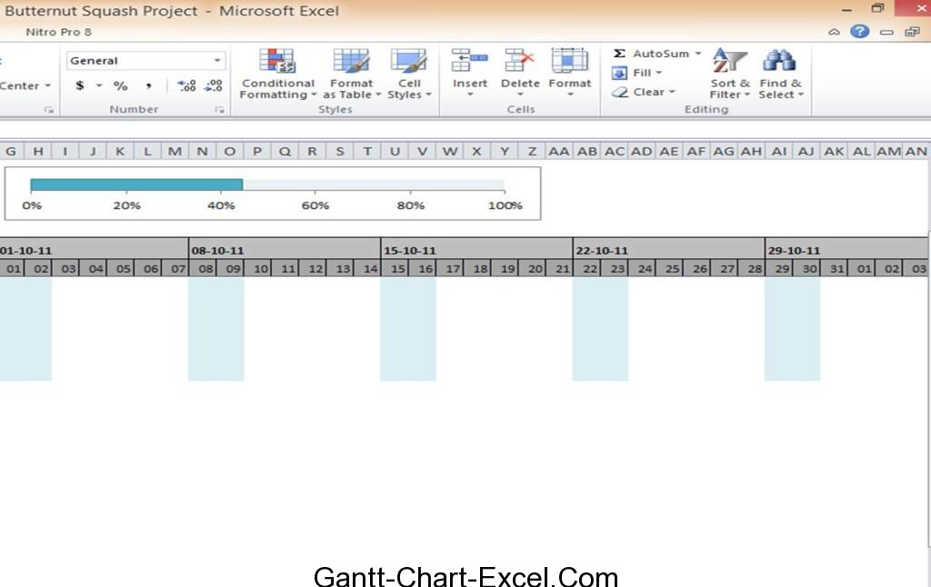 Gantt chart excel template cooking butternut squash for Progress chart excel template